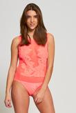Neon Pink Applique Floral Mesh Bodysuit