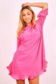 Neon Pink Pleated Frill Swing Dress