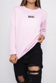 Pink Basic Slogan Sweatshirt