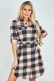 Pink Check Tie Waist Shirt Dress