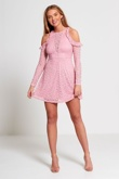 Pink Cold Shoulder Lace Mini Dress