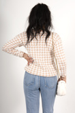 Pink Dogtooth Knitted Jumper