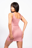 Pink Ribbed Underbust Seam Detail Bodycon Dress
