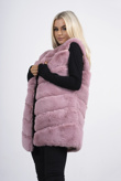 Dusty pink faux fur longline gilet
