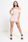 Pink High Waist Wet Look Ruffle Shorts
