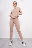 Pink 3 Piece Knitted Roll Neck Lounge Set