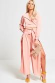 Pink Long Sleeves Cropped Top Set