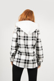 Black And White Check Hooded Shacket