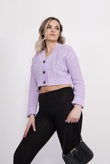 Lilac Cable Knit Cropped Button Cardigan