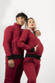 Wine Zip Up Tracksuit With Contrast Detail