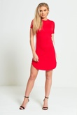 Red Bodycon White Panel Mini Dress