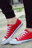 Red Canvas Stripe Sole Flat Trainers