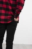 Mens Red Cotton Long Sleeve Check Shirt