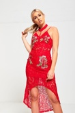 Red Choker Neck Floral Embroidered Fish Tail Lace Dress