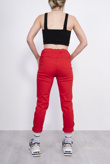 Red High Waisted Trousers With Turn Up Detail