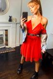 Red Mesh Ruffle Skater Dress