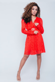 Red Plunge Lace Skater Dress