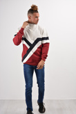 Mens Red Retro Stripes Zip Detail Sweatshirt