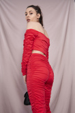 Red Slinky Ruched Legging And Crop Top Set