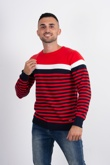 Mens Red Stripe Contrast Jumper
