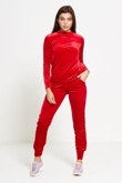 Red Velour High Neck Loungewear Jogger Set
