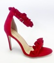 Red Faux Suede Frill Barely There Heels