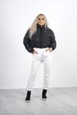 reflective black cropped pocket puffer coat
