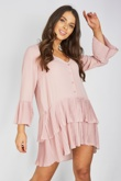 Rose Ruffle Pleated Smock Mini Dress