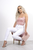 Pink silk rushed cropped cami top