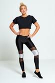 Silver Contrasting Panel Mesh Detail Activewear Leggings