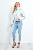 Silver Cropped High Neck Puffer Jacket