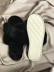 Black Fluffy Cross Strap Slippers