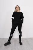 Black Stripe Knitted Lounge Wear