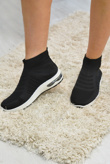 Textured Sole Black Sock Trainers