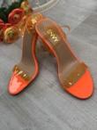 Neon Orange Clear Strappy Heels