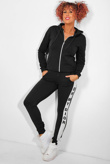 Black Slogan Print Tracksuit With Contrast Side Stripe