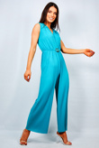 Turquoise Buckle Belted Plunge Pleated Jumpsuit