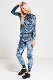 Turquoise Crushed Velvet Lounge Wear Jogger Set
