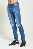 Mens Denim Knee Ripped Skinny Fit Jeans