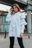 White Bow Tie Neck Marie Sleeves Oversized Shirt