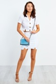 White Button Up Shirt And Skirt Co Ord