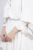 White Shirred Blouse And Tiered Ruffle Skirt Co-ord
