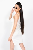 White Ribbed Knitted Bodycon Dress With Side Split