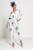 White Floral Print Wrap Over Jumpsuit