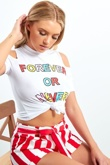 White Forever Or Never Slogan Knot Front Top