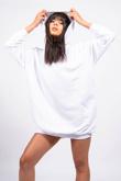White Oversized Hooded Sweater Dress