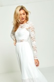 White Lace Long Sleeve Maxi Dress