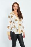 White Maze Print Collar And Cuff Shirt