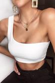 White One Shoulder Jersey Crop Top