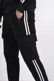 Black fleece white stripe tracksuit